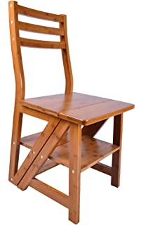 Natural Bamboo Multi Functional Four Step Library Ladder Chair
