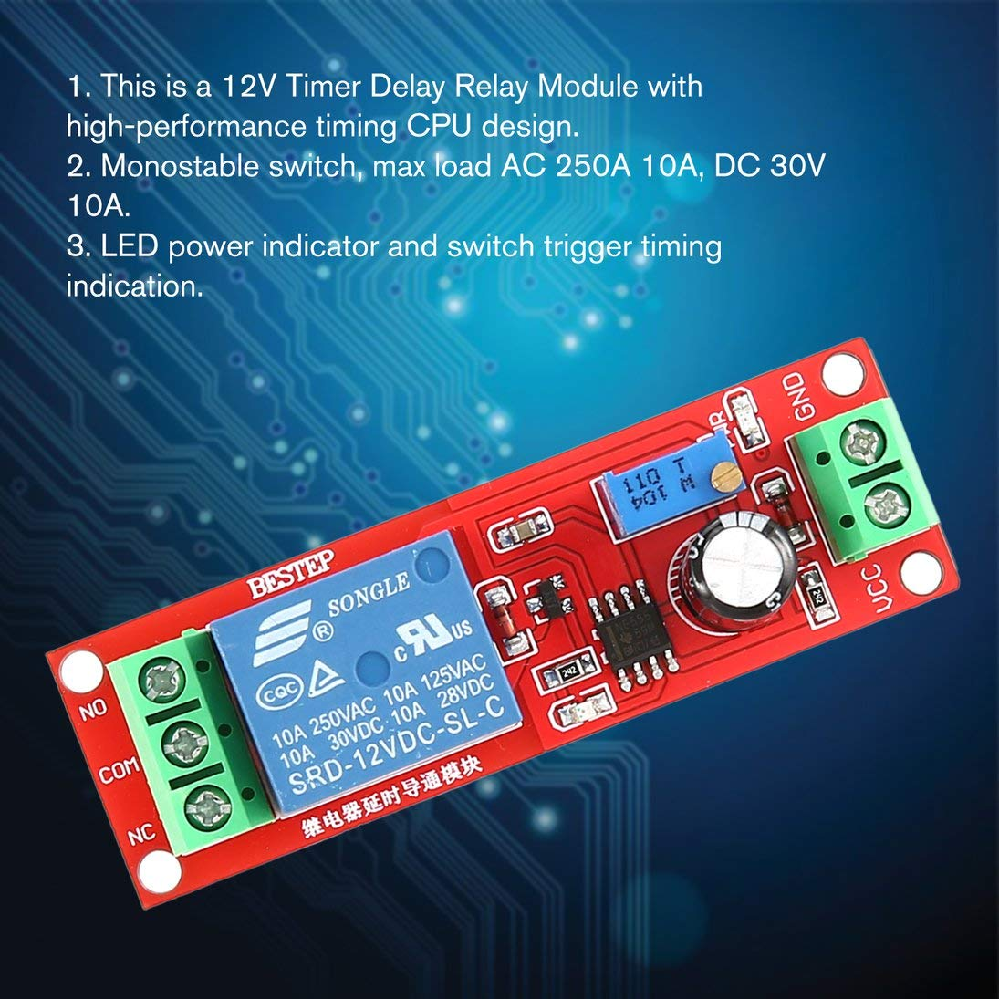 Baynne DC 12V NE555 Monostable Delay Relay Circuit Conduction Module Trigger Switch Timer Adjustable Time Shield Electronics Arduino by Baynne (Image #1)