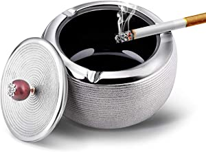 AUUM Ashtray for Cigarettes Indoor or Outdoor, Handmade Ceramic Electroplated Ashtray with Lid for Weed or Ash, Home and Office Decoration Ashtray - Silver