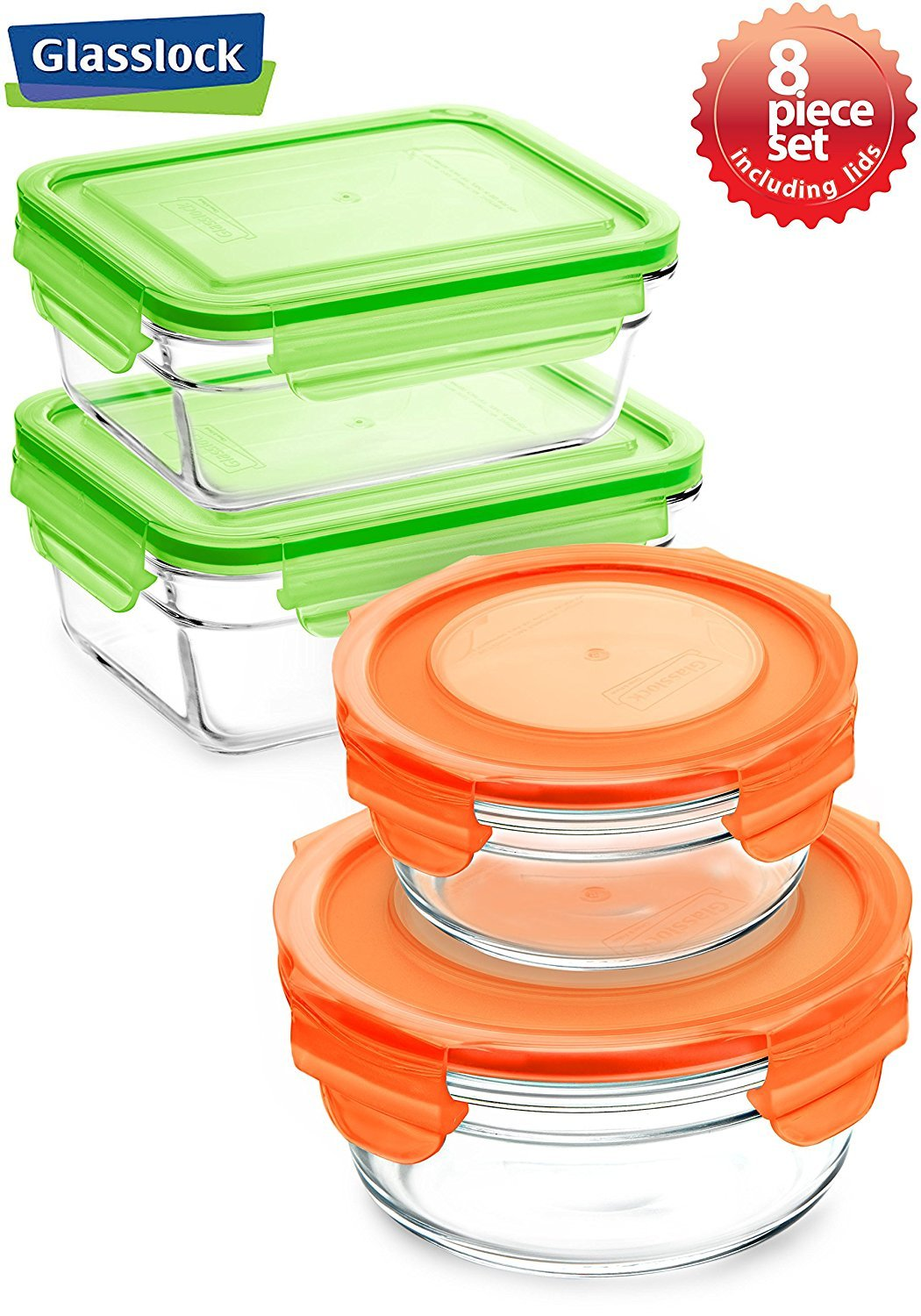 Snaplock Lid Tempered Glasslock Storage Round and Rectangular Containers 8pc set Combo with Orange and Green Lid - Microwave & Oven Safe Spill Proof