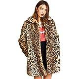 Women Warm Long Sleeve Parka Faux Fur Coat Overcoat Fluffy Top Jacket Leopard