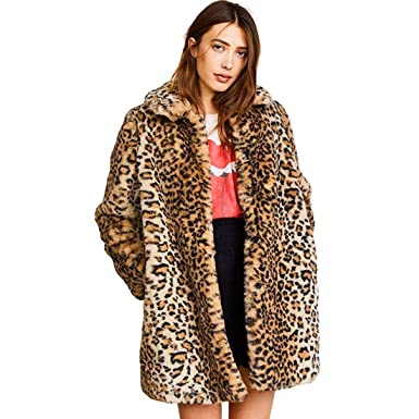 172a7256bff Women Warm Long Sleeve Parka Faux Fur Coat Overcoat Fluffy Top Jacket  Leopard (US 2