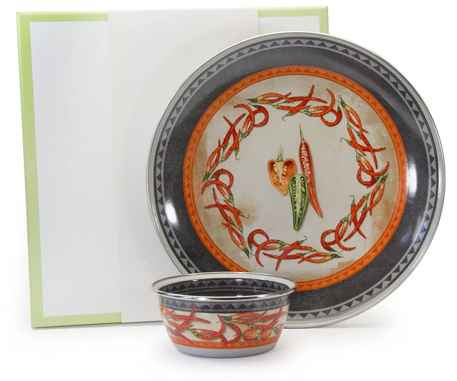 Golden Rabbit Enamelware Chili Peppers Chip and Dip Set