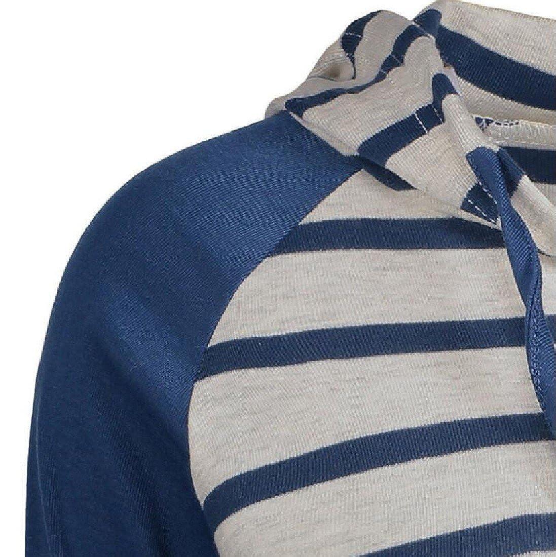 BabyYoung Womens Hoodie Stitching Sweatshirt Vogue Fit Striped Pullover