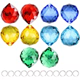 Crystalsuncatcher Mixed Color 10pcs Crystal Glass Ball Chandelier Prisms Pendants Parts Rainbow Crystal Suncatcher DIY…