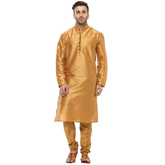 800aa03d8 Royal Kurta Mens Silk Blend Bronze Loop Button Silk Kurta Pyjama   Amazon.in  Clothing   Accessories