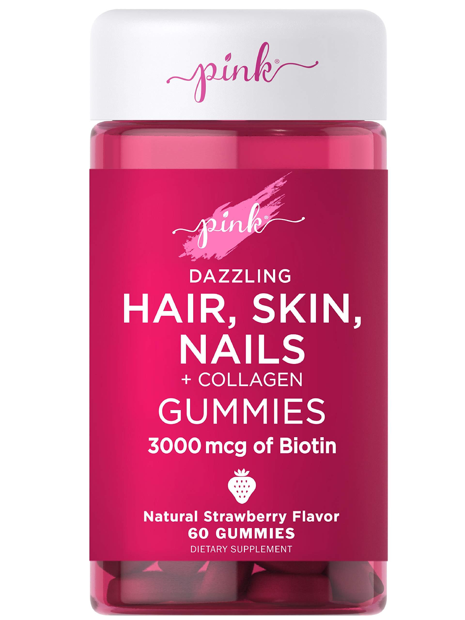 Pink Hair Skin Nails Gummies | 60 Count | Plus Collagen | Non-GMO & Gluten Free Vitamins for Women | Strawberry Flavor
