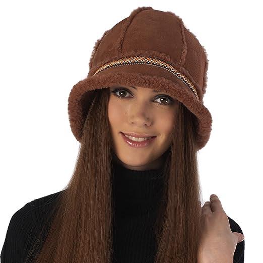Luxury Lane Women s Genuine Shearling Bucket Hat - Tobacco at Amazon ... 862de3ad735