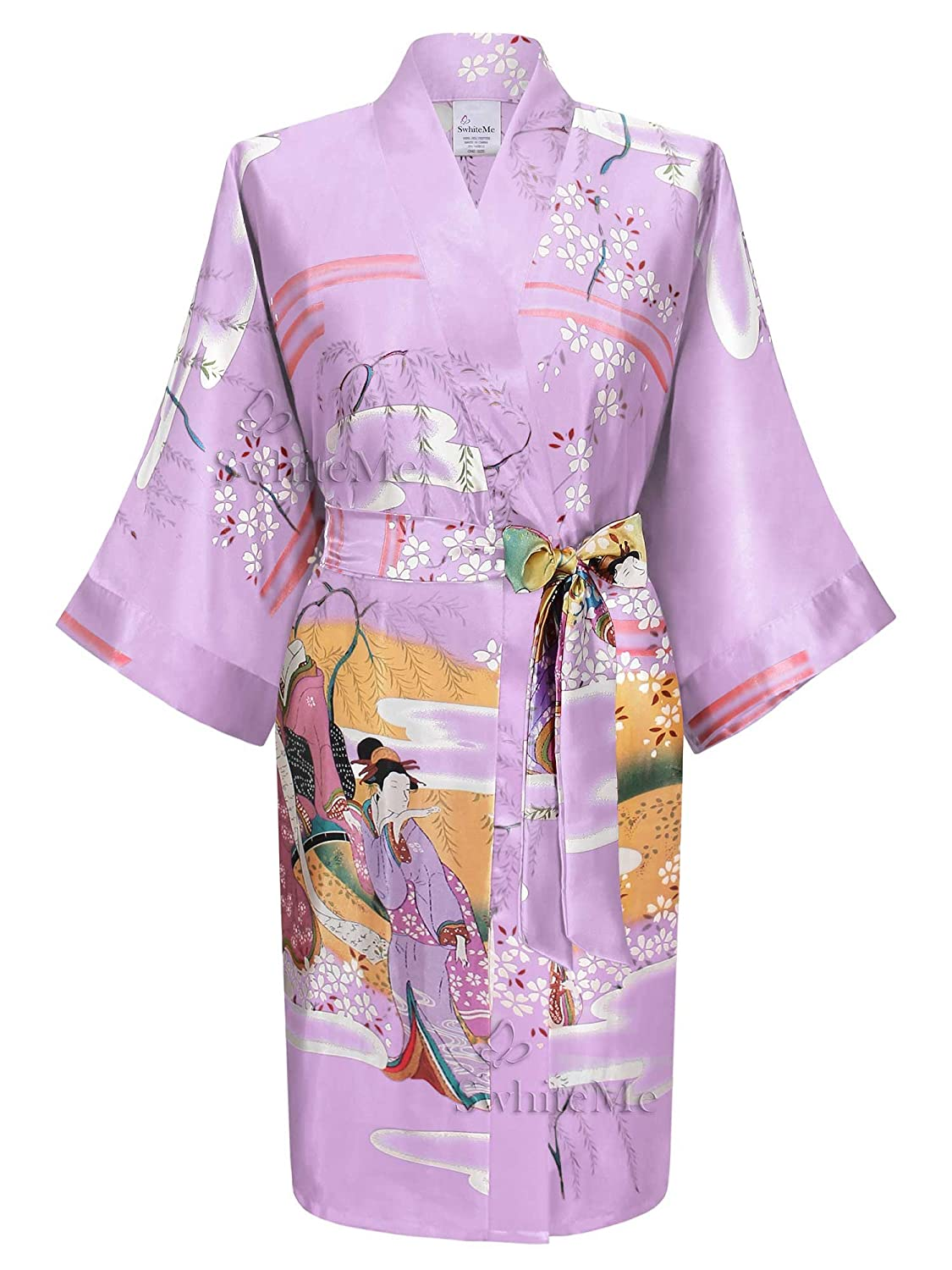 Swhiteme Women's Kimono Robe, Short, Without Pockets