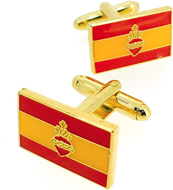 Gemelos para Camisa Bandera de España con Sagrado Corazon: Amazon ...