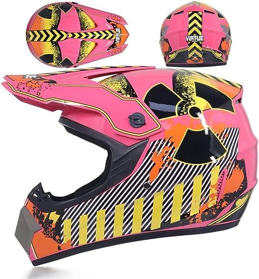 Motocross Helm Kinder Pink Motorrad Crosshelm Mit Brille Handschuhe Maske Fullface Mtb Pocket Bike Helm Motorradhelm Damen Für Downhill Mountainbike Off Road Bmx Enduro Atv L Sport Freizeit