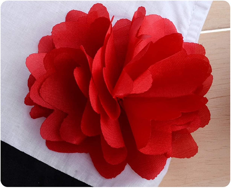 eshion Striped Princess Dress Flower Red and White skirt