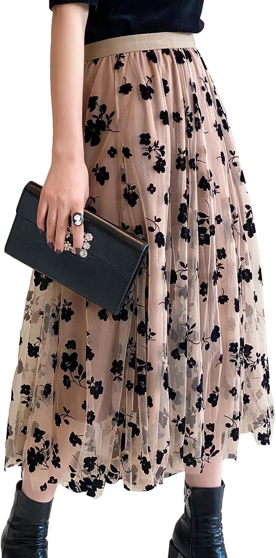 Falda de tul para mujer, diseño de flores