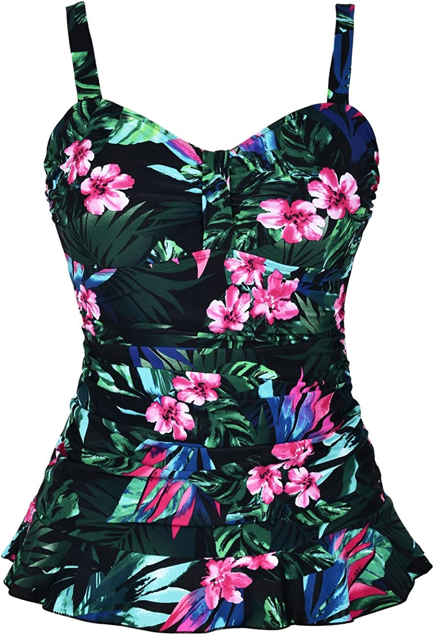 Hilor Womens 50s Retro Ruched Tankini Swimsuit Top with Ruffle Hem