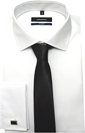 Seidensticker Puños Camisa Rosa Negra Ajustado 2020 blanco inclusive Corbata y Gemelos 38 a 44 - algodón, blanco, 100% algodón, hombre, XL / 44: Amazon.es: Ropa y accesorios