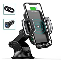 CHOETECH Wireless Car Charger, 10W/7.5W Qi Wireless Fast Charging Car Mount USB-C Phone Holder Compatible with iPhone 11…