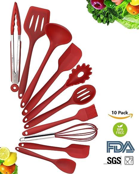 10 Piece Silicone Kitchen Utensil Set Spatula Spoon And Turner Heat Resistant Premium Home Cooking Tools Kit Amazon De Kuche Haushalt