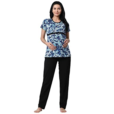 b40e2d6262ad7 GOLDSTROMS Minelli Women's Hosiery Fabric Maternity/Feeding/Nursing Top and  Bottom Set Blue: Amazon.in: Clothing & Accessories