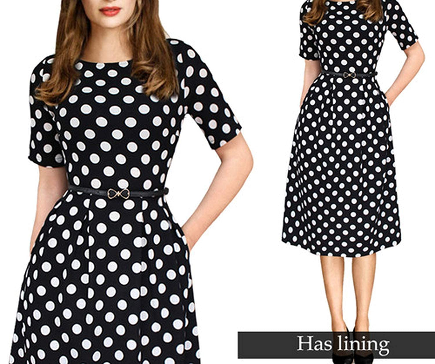 New Black White Dot Fragrancety Womens Elegant Vintage Summer Polka Dot Belted Office Casual Party A Line Dress