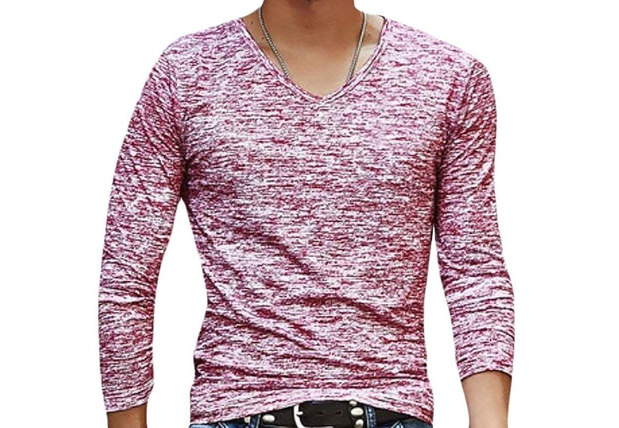 Zimaes-Men Casual Long Sleeve Slim V Neck Pullover T Shirts