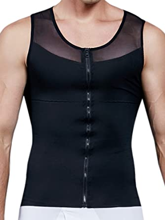 MISS MOLY Mens Slim Body Shaper Vests Shirt Abs Abdomen Slimming Shirt Tummy Waist Vest