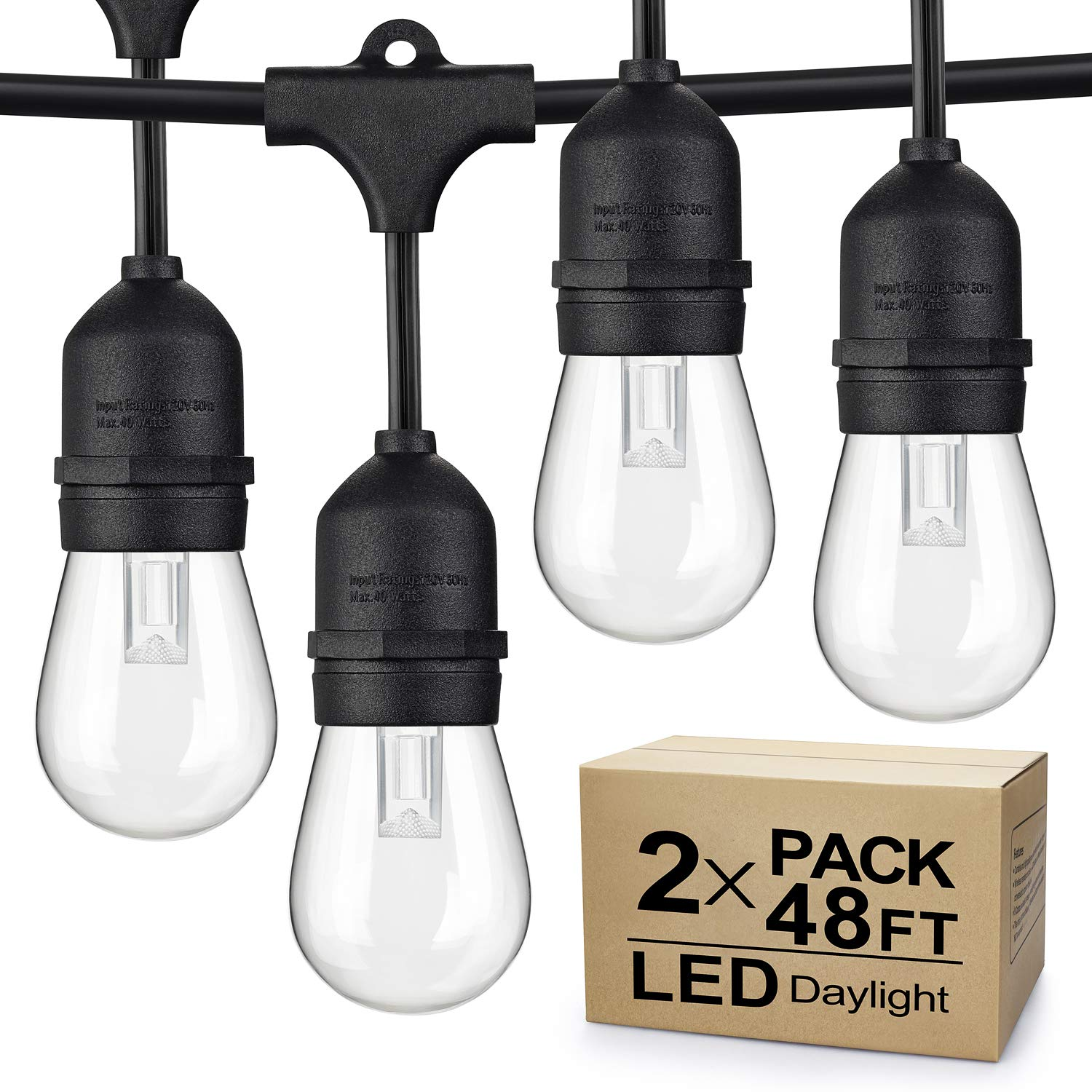 2-Pack Dimmable LED Outdoor String Lights for Patio Daylight White, IP65 Waterproof Hanging Edison Bulbs, 48Ft Commercial Grade Lights String Create Ambience for Garden Backyard Party (Total 96ft) by SHINE HAI