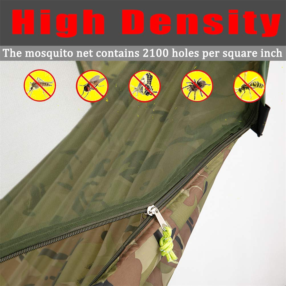 AMZQJD Camping Hammock with Mosquito Net, Portable Nylon Double Hammock with Tree Straps, Carabiners and Storage Bag for Indoor, Outdoor, Hiking, Travel, Party, Beach Hold Up to 660 lbs