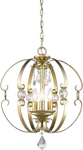 Golden Lighting 1323-3P WG Ella – 3 Light Pendant, White Gold Finish
