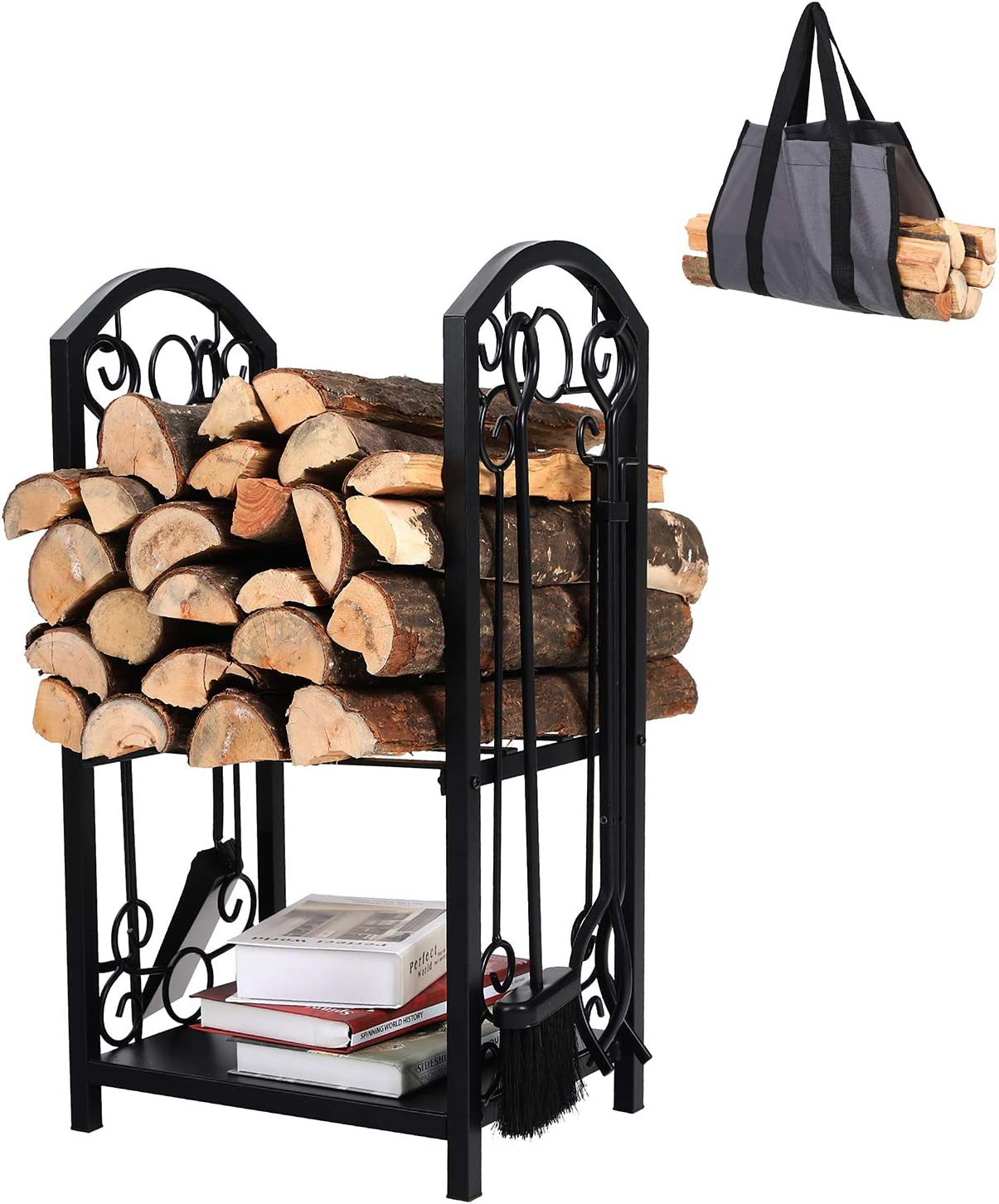 PHI VILLA All-in-One Heavy Duty Hearth Indoor Outdoor Firewood Rack with Fireplace Tools Set, 28 Inch Tall Log Holder, Black
