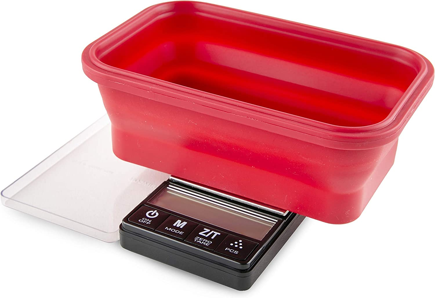 Truweigh - CRIMSON Collapsible Bowl Scale (1000g x 0.1g - Red/Black) and Long Lasting Portable Grams Scale - Kitchen Scale - Food Scale - Postal Scale - Herb Scale - Meal Prep Scale