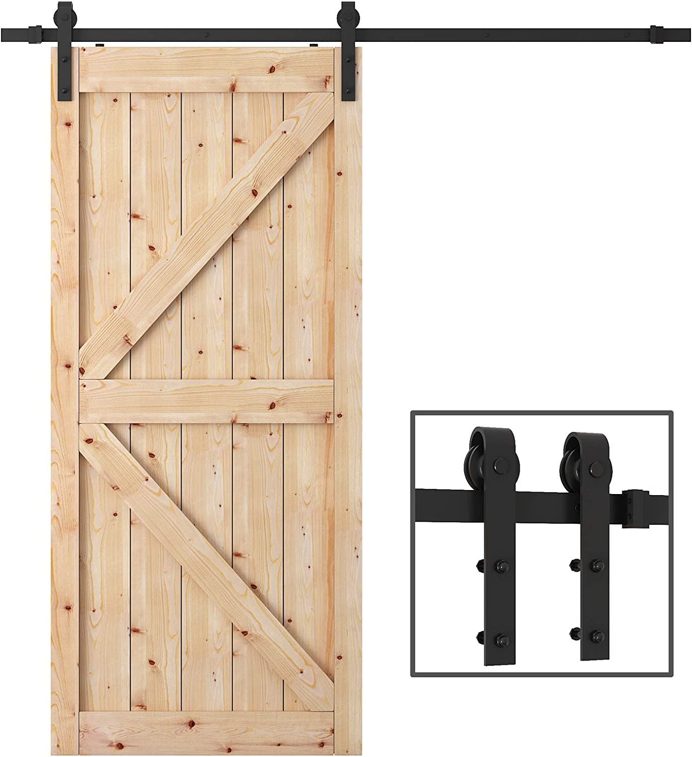 WBHome SDH-A023-BK Sliding Barn Door Hardware Kit Black 6.6 FT-Antique Style