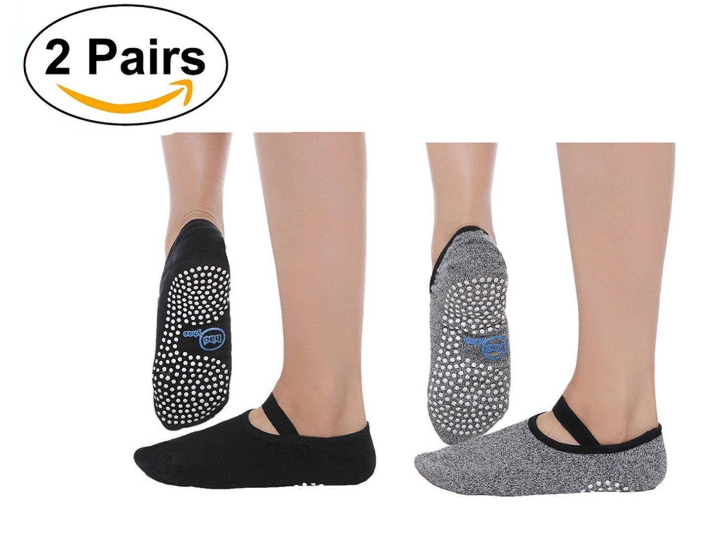SANIQUEEN.G 2 Paare Mä nner/Damen Yoga Socken Rutschfest Atmungsaktiv Yoga Pilates Tanz Fitness Sport Workout-Socken EUR Damen 35-40/Mä nner 38-44