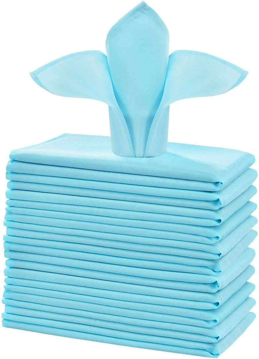Cieltown Polyester Cloth Napkins 1-Dozen, Solid Washable Fabric Napkins Set of 12, Perfect for Weddings, Parties, Holiday Dinner (17 x 17-Inch, Baby Blue)
