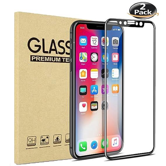 cheap for discount a3fe9 622ab iPhone X Screen Protector, iPhone 10 Screen Protector [2 Pack]- Tempered  Glass 9H Hardness Screen Protector for iPhone X iPhone 10 Anti-Scratch ...