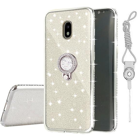 new york b4de1 35f04 Galaxy J7 2018/7 Refine/J7 Top/J7 Star Case,AMASELL Bling Ultra Thin  Silicone Clear Case Glitter Rhinestone Bumper Plating Bumper Slim  Protective Case ...