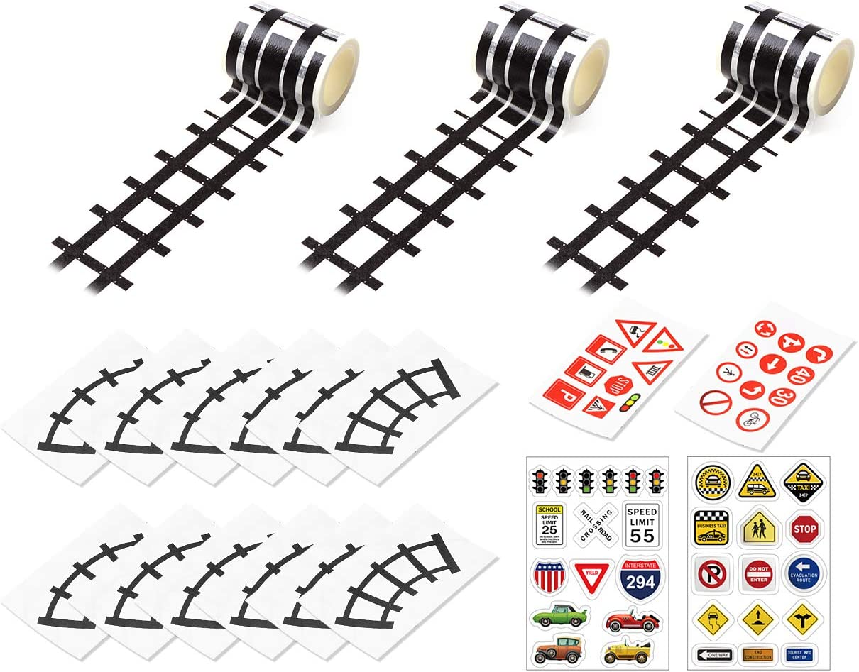DS. DISTINCTIVE STYLE Road Tape 5 Meters DIY Reusable Railway Road Stickers Play Tape Road with Traffic Signs and Straight Curve Track