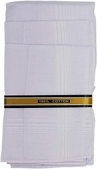 12 Pieza Hombre pañuelos (Color Blanco 40 x 40 cm, 100% algodón ...