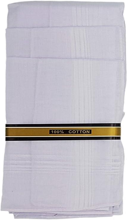 12 Pieza Hombre pañuelos (Color Blanco 40 x 40 cm, 100% algodón, plástico pañuelos (: Amazon.es: Hogar