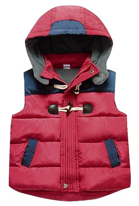 Happy Cherry - Abrigo de invierno para bebé, sin mangas, con capucha desmontable,