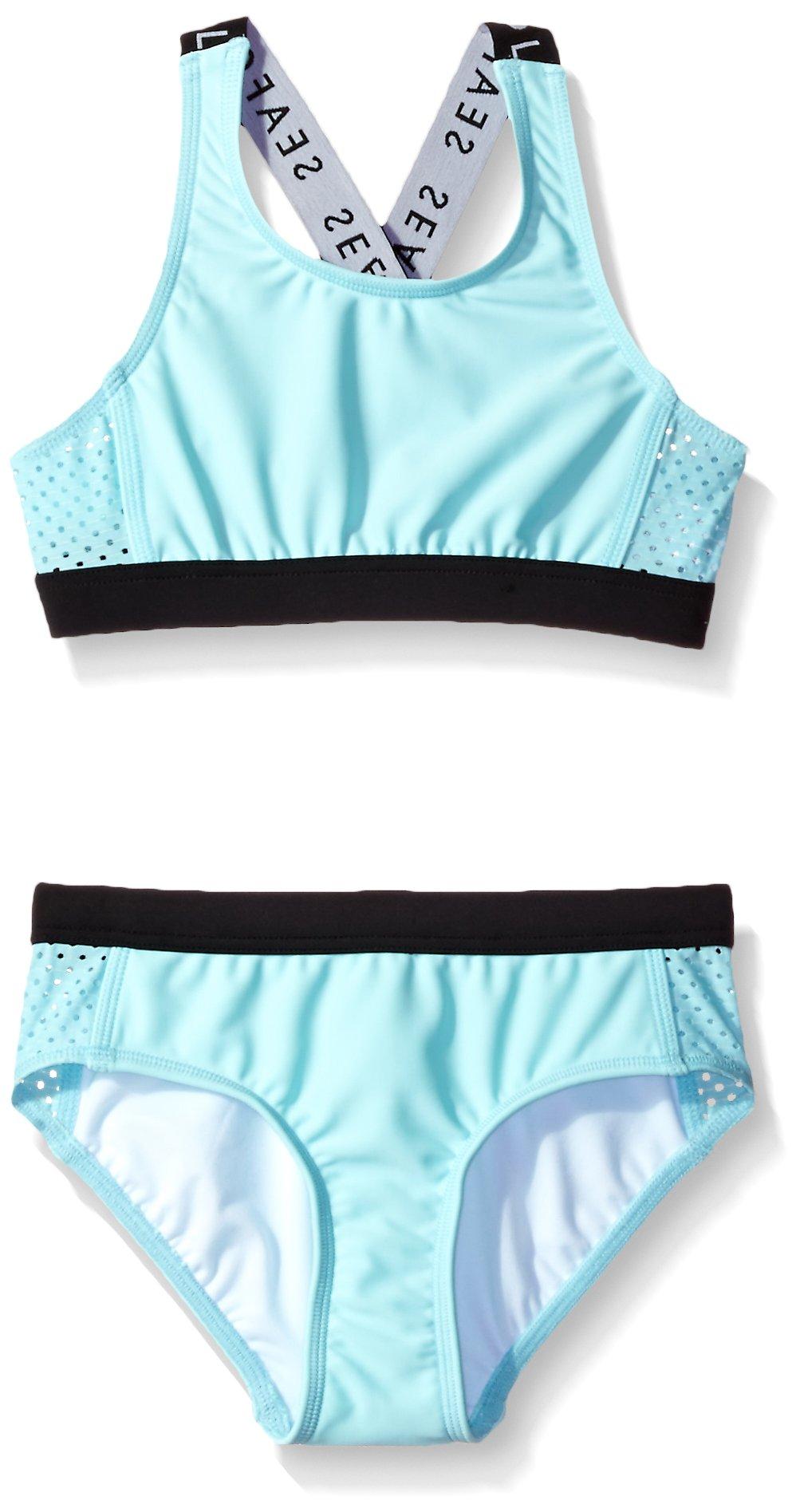 Seafolly Big Girls' Summer Essentials Tankini, Sky Blue, 10