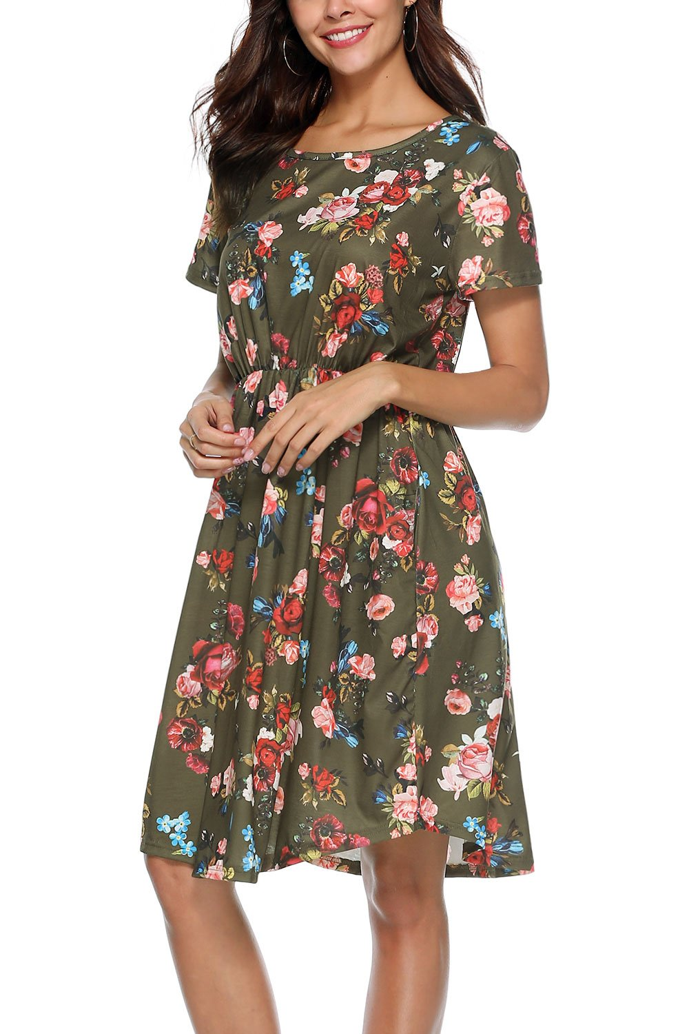 NICIAS Women Floral Short Sleeve Tunic Vintage Midi Casual Dress with Pockets Army Green L
