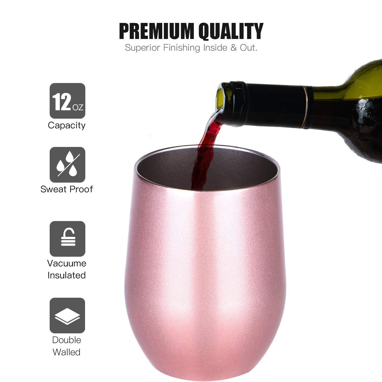 Blue Co Carlcoo Stainless Steel Stemless Glass Cups Wine 12 oz Double Wall Vacuum Insulated Tumbler with Lid for Coffee