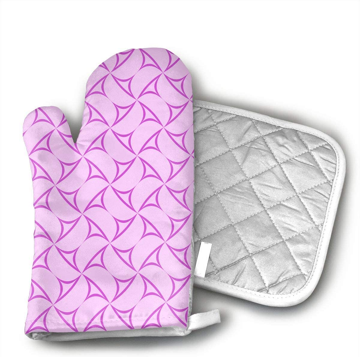 EROJfj Pink Pattern Curved Shape Polygon Oven Mitts and Potholders BBQ Gloves-Oven Mitts and Pot Holders Non-Slip Cooking Gloves for Cooking Baking Grilling