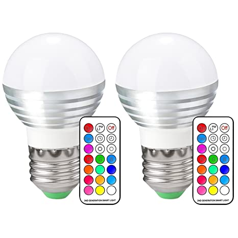 aquiver E14 RGB Bombilla LED 3 W 16 colores Cambio de luz de intensidad regulable con
