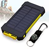 Solar Charger, 10000mAh Solar Power Bank , Dual USB Port Waterproof Dust-Proof and Shock-Resistant Portable Phone Charger with Led Light for Camping Hiking and Other Outdoor Activities (Yellow)