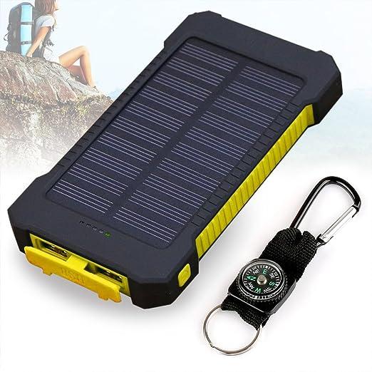 33 opinioni per Caricabatteria solare, 10000mAh Solar Power Bank, doppia porta USB impermeabile