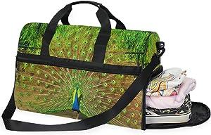 Large Duffle Bag Beautiful Peacock Plumage Ablaze Gym Sport Travel Weekender Bag Handbag for Women Men