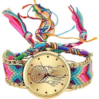 61d188f53c55 Sannysis Dreamcatcher Amistad Pulsera Relojes vestido de las mujeres del  reloj de la trenza