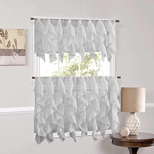 Sweet Home Collection Veritcal Kitchen Curtain Sheer Cascading Ruffle Waterfall Window Treatment-Choice of Valance, 24 or 36 Teir, and Kit, Silver