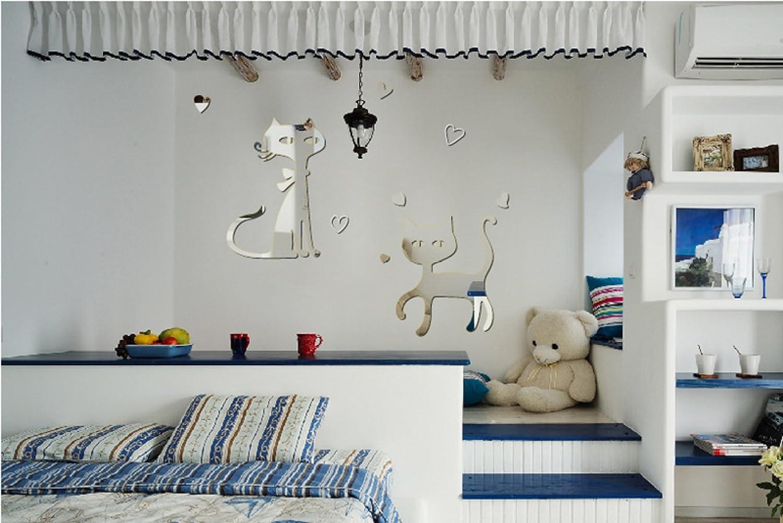 Gatos Tridimensional Acrílico Espejo Vinilos Decorativos Salón Comedor Fondo Decorativos,Silver: Amazon.es: Hogar